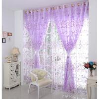 人气紫色小花植绒唯美纱帘杆帘打孔落地窗一层窗幔平帷定制窗帘定制