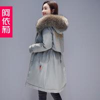 冬季新款女装时尚修身羽绒中长款韩版百搭外套棉袄棉衣潮 浅军绿 S