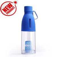 天喜(TIANXI)水杯 塑料杯创意透明随手杯运动旅行杯子 带茶漏便携防漏茶杯