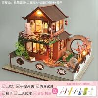 新品 diy小屋别墅中国风创意手工制作小房子模型玩具生日礼物女生