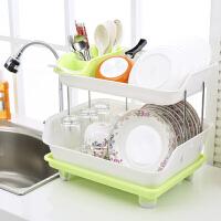 双层碗架 塑料沥水碗碟架 厨房置物架立式碗柜厨房用品餐具收纳架