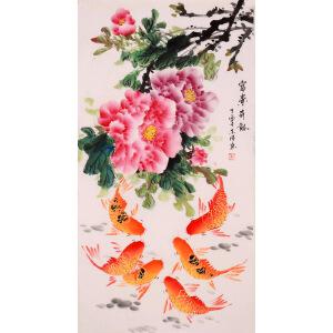 余涛《富贵有余》花鸟 大尺幅 国画 精品 装饰 送人字画的佳品