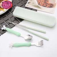 儿童不锈钢叉勺筷子套装 宝宝餐具 婴儿训练勺辅食勺4件套