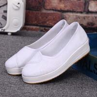 护士鞋女平软底厚底增高一脚蹬女医院美容院理发店工作鞋