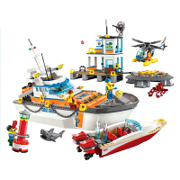 儿童兼容乐高积木海岸警卫队城市系列海上救援飞机拼装儿童积木拼插玩具男孩