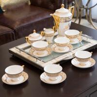 新古典简欧式美式法式样板间样板房高档骨瓷金纹咖啡杯咖啡具套装