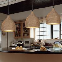 北欧风格个性麻绳吊灯客厅灯LED餐厅吊灯吧台麻绳吊灯灯饰