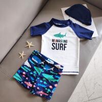 儿童宝宝游泳衣鲨鱼造型泳装男童分体泳衣中小童泳裤套装
