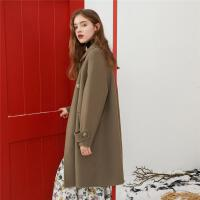 【�慰蠲��】ONE MORE冬季新款毛呢大衣�凸烹p面呢��松中�L款呢子外套女�b