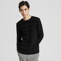 【2件1.5折价:89.9,可叠券】MECITY男装冬季暗条纹修身羊毛衫圆领套头毛衣
