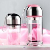 男女士杯子创意过滤茶杯水晶杯玻璃杯便携带盖双层水杯
