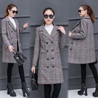 妮子大衣女中长款加厚修身千鸟格子风衣秋冬季韩版羊毛呢外套学生 格子毛呢