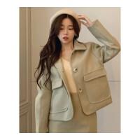 时尚套装女秋冬新款单排扣长袖毛呢外套气质高腰显瘦A字半身裙子