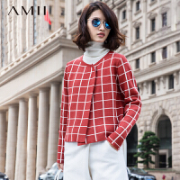 AMII[极简主义]秋冬新格纹针织外套短款毛衣11572086