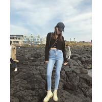 张智研加绒牛仔裤女2018冬季韩版新款显瘦高腰弹力深色小脚铅笔裤