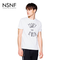 NSNF纯棉变型字母印花白色圆领T恤男 短袖t恤男装2017新款 修身圆领针织短袖