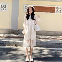 小香风套装女春季新款chic百搭纯色针织马甲网纱波点连衣裙两件套