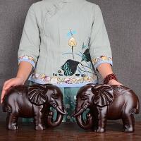木雕大象摆件红木雕刻吉祥如意一对象大象工艺礼品家居玄关客厅办公室招财风水象动物对象开业乔 黑檀木大象:40*16*25