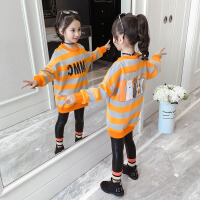 女童冬装长款卫衣2019新款中大童洋气保暖绒衫潮儿童加绒加厚上衣