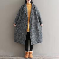 230斤大码外套女装加肥加大秋冬新款胖妹妹中长款洋气毛呢子大衣 彩点毛呢
