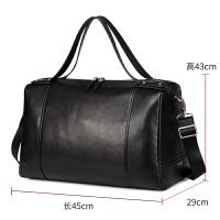 行李袋手提大容量超大男士旅行包真皮短途出差特大号头层牛情人节礼物 黑色 大
