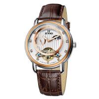 艾奇(EYKI)镂空自动休闲机械表 镶钻刻度潮流时尚表盘 真皮表带手表 8652