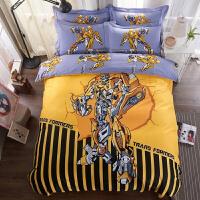 卡通全棉三四件套男女孩床上用品儿童纯棉套件床单被套单人床定制