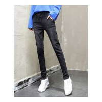牛仔裤女秋冬高腰加绒加厚松紧腰显瘦宽松黑色小脚铅笔哈伦裤