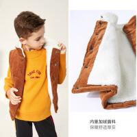 MQD男童童装2019冬装新款马甲保暖内穿棉衣加绒灯芯绒