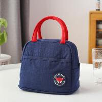带饭的手提袋子饭盒袋带饭包袋大号保温袋铝箔加厚保暖午餐便当包 升级款- 蓝色小号