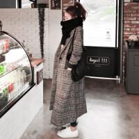 新款春秋装中长款韩版女装毛呢外套冬长修身显瘦千鸟格子羊绒大衣 乳白色