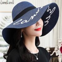 夏天遮阳帽防晒草帽可折叠大沿帽海滩度假沙滩帽旅游太阳帽