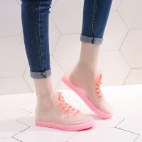 【好货】果冻透明可爱短筒雨鞋女防水鞋胶鞋套鞋水靴时尚雨靴