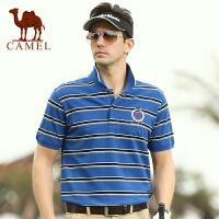 骆驼男装 夏装新款 男士休闲直筒条纹t恤衫 短袖棉t恤