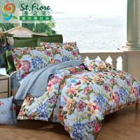 [当当自营]富安娜家纺纯棉四件套1.5米1.8米床印花套件 锦绣华彩 蓝色 1.5m