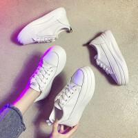 秋款内增高厚底百搭小白鞋女休闲松糕鞋秋季网红白鞋瘦瘦板鞋