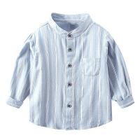 男童条纹衬衫春秋季新款儿童立领长袖衬衣宝宝休闲装