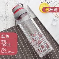 乐扣乐扣水杯运动水壶创意塑料便携HLC807 700ml随手杯茶杯子 红色