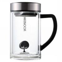包邮!希诺XN6721 双层玻璃杯435ML茶隔玻璃茶杯 手柄办公杯 带滤网泡茶杯