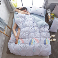 宿舍�稳肆�件套床上用品床上�色四件套�W生宿舍被子六件�稳隧n式水洗枕套床褥定制