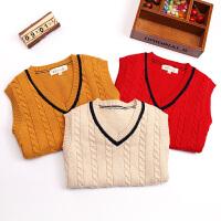 宝宝毛衣儿童童装秋冬加厚新款套头男童针织毛线马甲背心针织衫