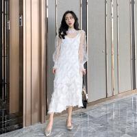 名媛风套装女春装新款羽毛流苏吊带连衣裙百搭透视网纱上衣两件套