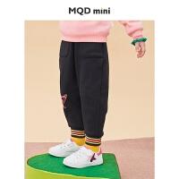 【折后券后预估价:101】MQD女小童裤子2020冬装新款儿童不倒绒保暖立体卡通百搭针织裤潮