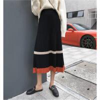 秋冬女装新款韩版复古风撞色针织半身裙学生A字百褶中长裙子 均码