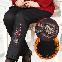 中老年女裤加绒加厚冬装妈妈松紧腰保暖长裤老年人奶奶外穿棉裤子