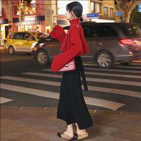 2018秋冬季新款韩版气质两件套秋款毛线背心裙子毛衣时尚套装女潮 红色毛衣+半裙
