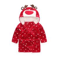 儿童浴袍珊瑚绒动物卡通宝宝睡衣睡袍带帽居家服秋冬宝宝浴衣保暖QL-113 红色 麋鹿