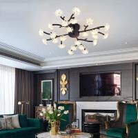 led吸顶灯主卧室灯饰简约后现代大气家用客厅灯创意北欧树杈灯具 黑色4头-G4 LED24个