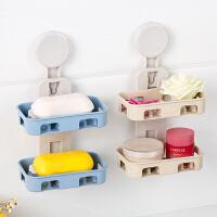 浴室吸盘肥皂盒双层香皂盒沥水创意置物架壁挂卫生间皂托洗漱台架