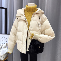 连帽棉衣女秋冬季短款面包服韩版羽绒棉流行外套蓬蓬小棉袄反 米白色 M